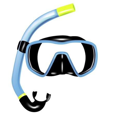 snorkel: snorkel en masker voor het duiken geïsoleerde