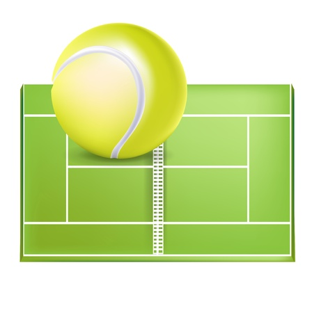 tennis field and ball isolated on white Stock Vector - 13709537