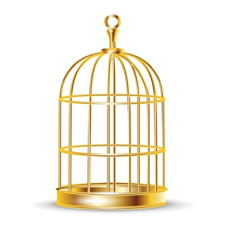golden bird cage isolated on white Illustration