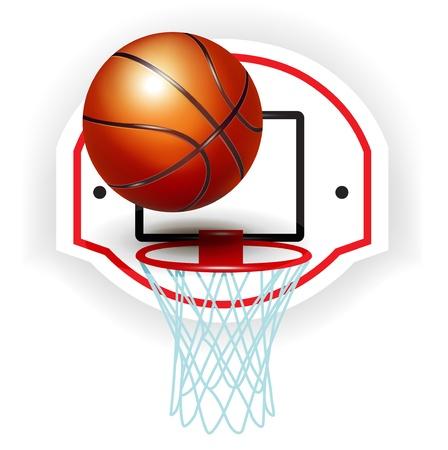 basket: pallacanestro anello e palla isolato su bianco Vettoriali