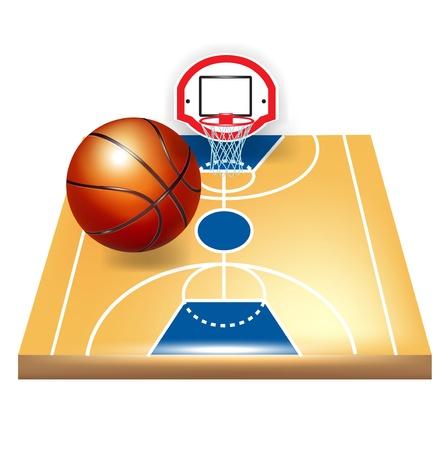 Basketballplatz und Ball auf weiß isoliert Standard-Bild - 13758767