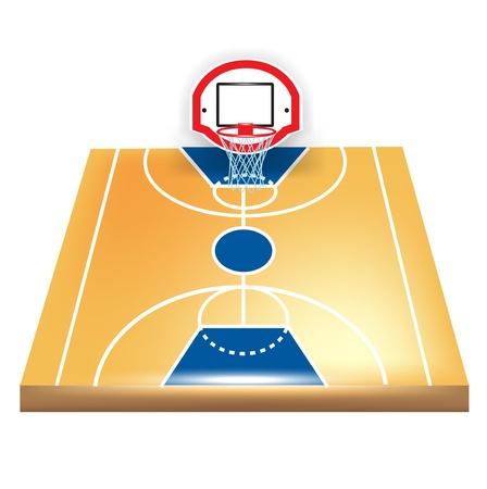 court symbol: single basketball court isolated on white