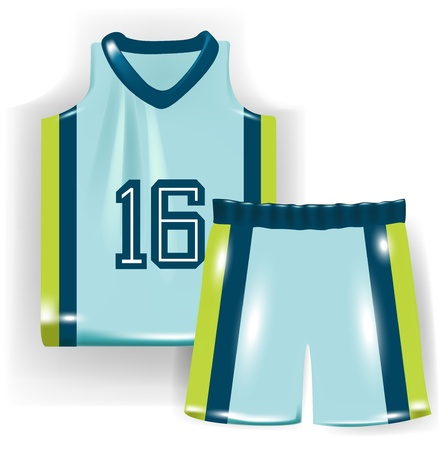 tee shirt template: basketball shirt and trousers isolated on white