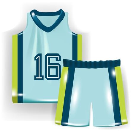 basketbal shirt en broek op wit wordt geïsoleerd