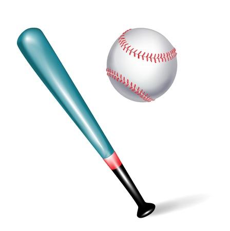 chauve souris: batte de baseball et balle isol�e sur fond blanc