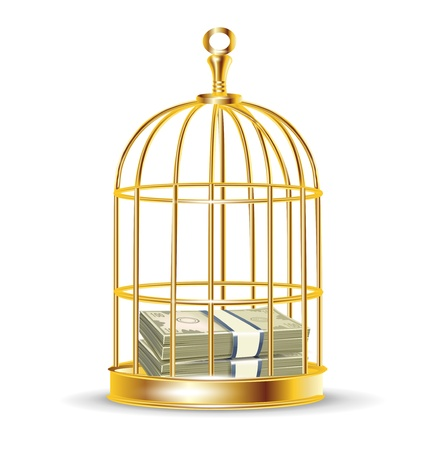 stack of money inside golden birdcage isolated Stock Vector - 13758774