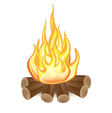 single campfire isolated on white background