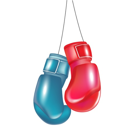 protective gloves: two boxing gloves hanging isolated on white