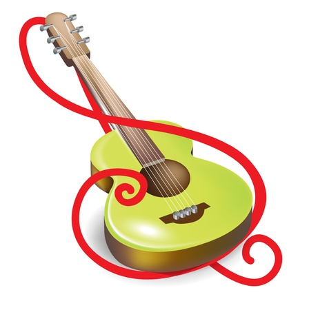 key ring: acoustic guitar and clef symbol isolated