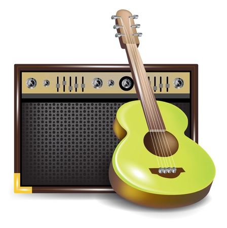 guid: acoustic guitar and amplifier or guid isolated