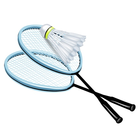 badminton racket: two rackets and badminton shuttlecock isolated Illustration