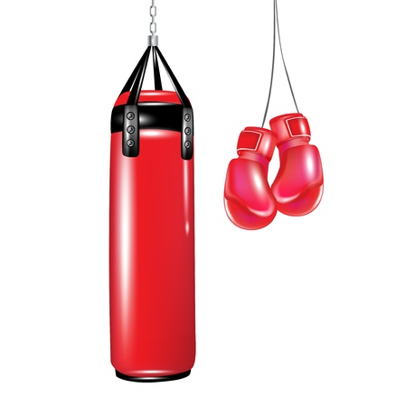 protective gloves: punching bag and boxing gloves isolated Illustration