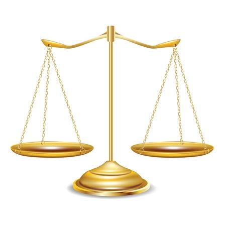justice scales: escalas de oro sobre fondo blanco Vectores