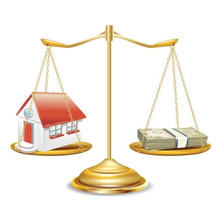 gewicht skala: goldenen Schuppen mit Haus und Geld-Stack isoliert