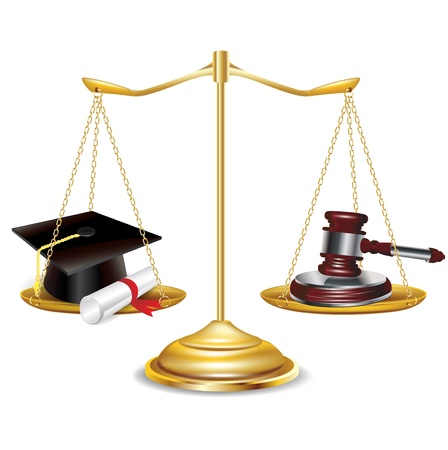 enforcement: golden scales with gavel and graduation cap isolated