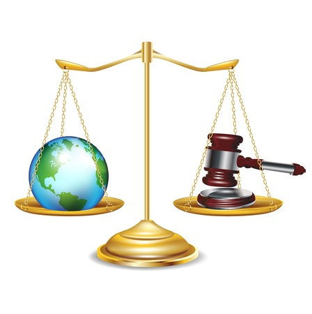 justice hammer: golden scales with earth globe and gavel isolated