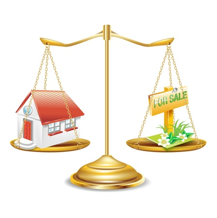 for sale sign: golden scales with house and for sale sign isolated Illustration