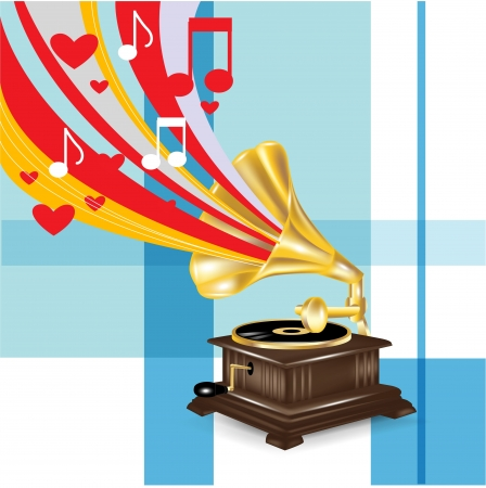 gramophone: gramophone with music love concept background