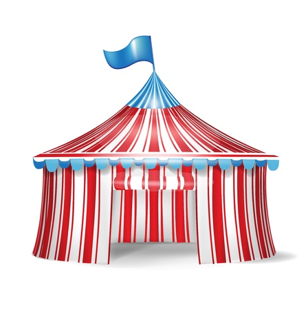 marquee tent: single red and white circus tent Illustration