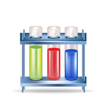 reaction: three chemical substances in glass containers isolated