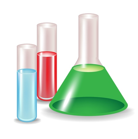 substances: chemical substances in glass containers isolated Illustration