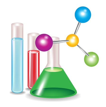 test equipment: abstract molecules and chemical substance containers isolated