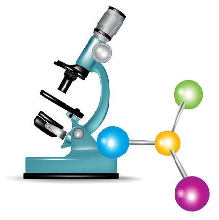 microscope and abstract molecules isolated