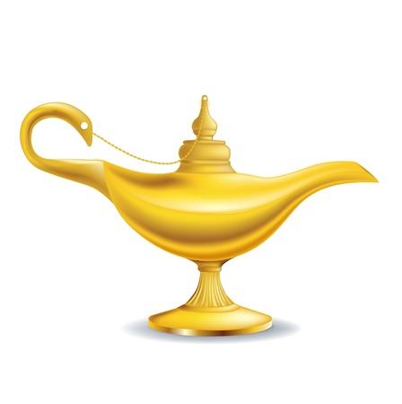 白で隔離される黄金の魔法のランプ