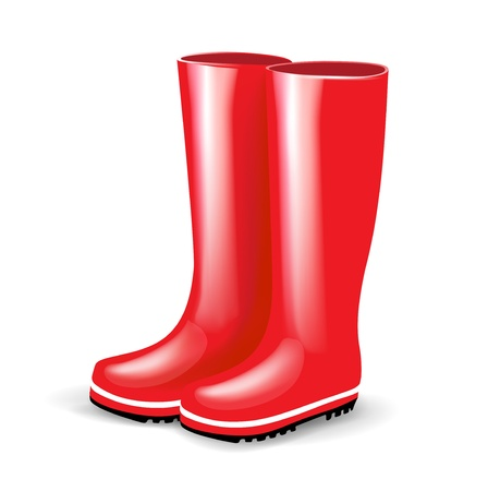 rain boots: single pair of red rubber boots isolated