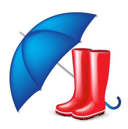 botas de lluvia: botas rojas de goma con color azul aislado