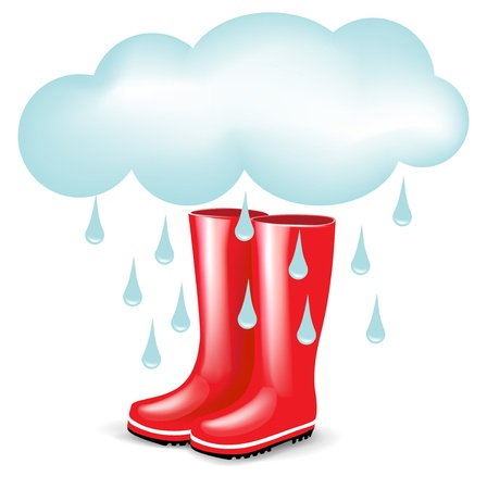 rainy season: red rubber boots with rainy cloud isolated