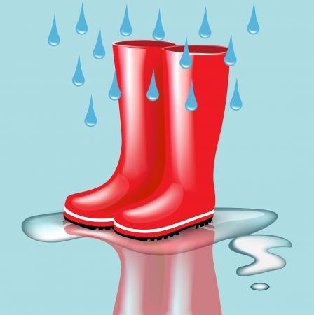 rubberboots: rote Gummistiefel mit regen Tropfen und Spritzer auf blauem Hintergrund Illustration