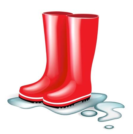 botas rojas de goma en las salpicaduras de agua aisladas Ilustración de vector