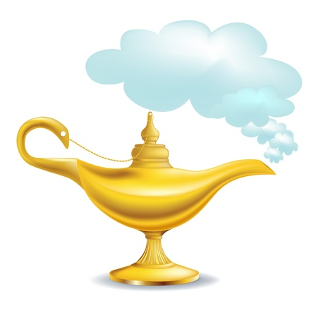 genie: golden magic lamp with cloud isolated Illustration