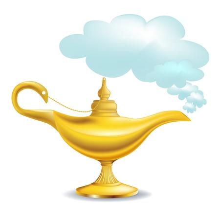lámpara mágica de oro con nubes aisladas