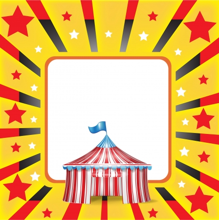 fun fair: circus tent and red and yellow background