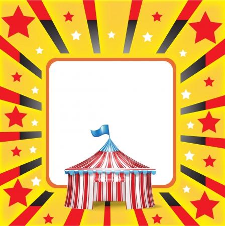fei�ra: tenda de circo e vermelho e fundo amarelo
