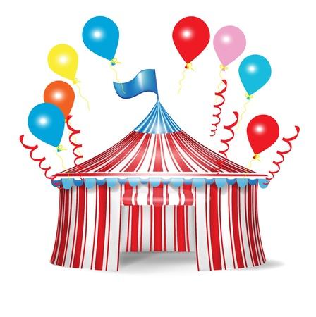 cirque: tendone da circo con palloncini celebrazione isolati