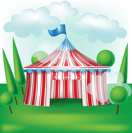 carnival background: circus tent on grass background with trees