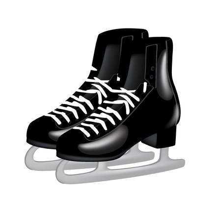 figure skate: pair of black ice skates isolated on white