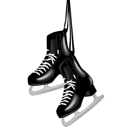 Paar schwarze Schlittschuhe hängen auf weiß isoliert Standard-Bild - 14554921
