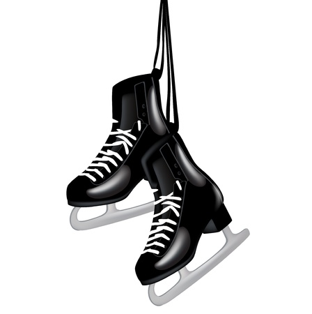pair of black ice skates hanging isolated on white