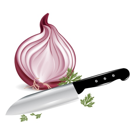 onion peel: half cut onions and knife isolated on white