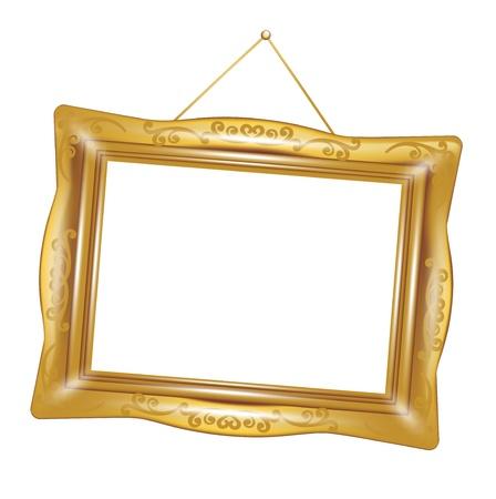 Rétro cadre doré isolé sur fond blanc Banque d'images - 14969101