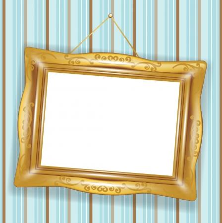 Gehängt retro goldenen Rahmen auf Tapete Standard-Bild - 14969138