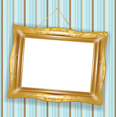 inclination: hanged retro golden frame on wallpaper