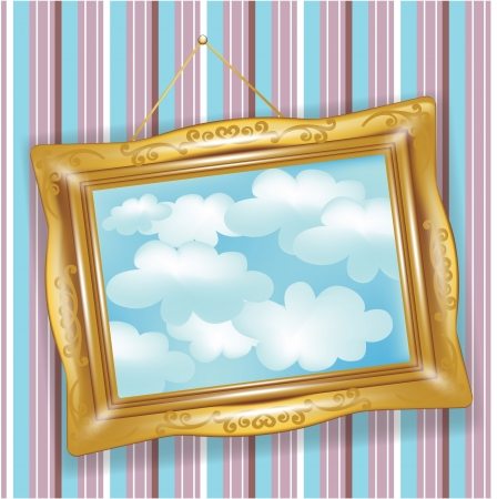 concepts and ideas: retro golden frame with clouds picture
