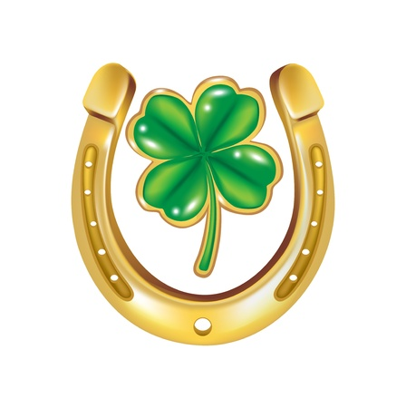 horseshoe and four leaf clover isolated
