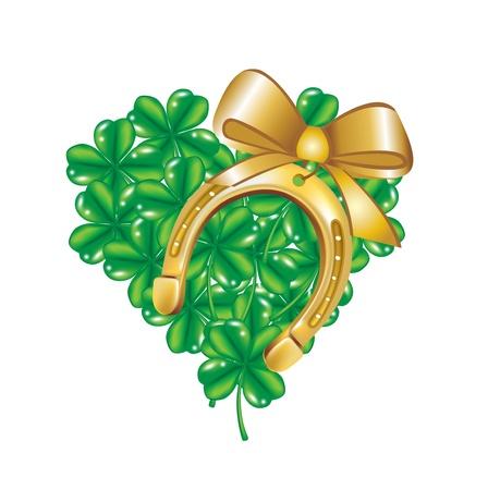 horse shoe: horseshoe and heart made of four leaf clover isolated Illustration