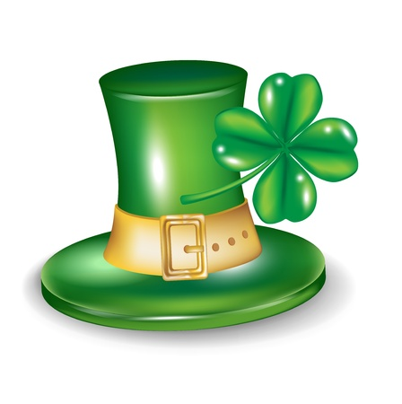 st patrick hat with four leaf clover isolated Vector